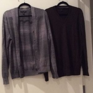 Cardigan and V neck sweater